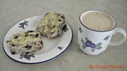 hot cross bun and a caramel latte for breakfast