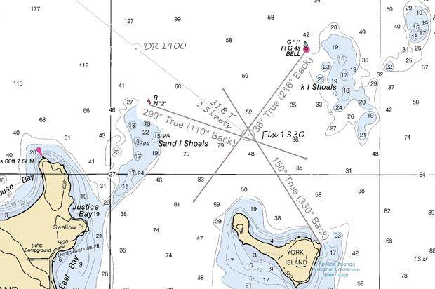 triangulate a fix in navigation