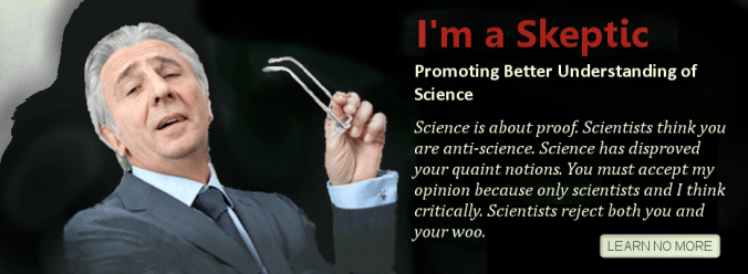 A hypocrisy meme, where a man disdainfully holds his intellectual looking spectacles in the air and cites that the job of skeptics is to promote a better understanding of science. Then ironically, starts spinning a whole slew of reasons why science finds the reader unacceptable and calls them names and irrational.
