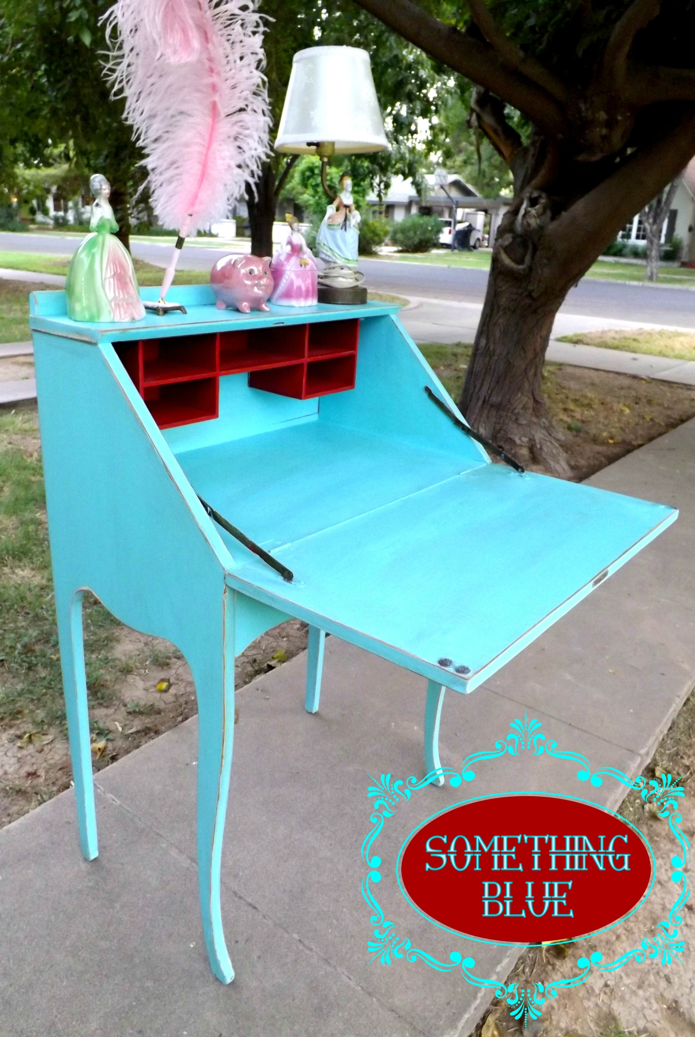 Something Blue  Drop Down Secretary Desk and Chair  Thee