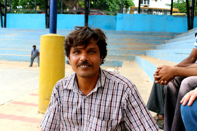 This is Kumar, one of the guys at the cricket grounds. He is a fruit vendor who has a wife and a little girl who was born on Christmas day.