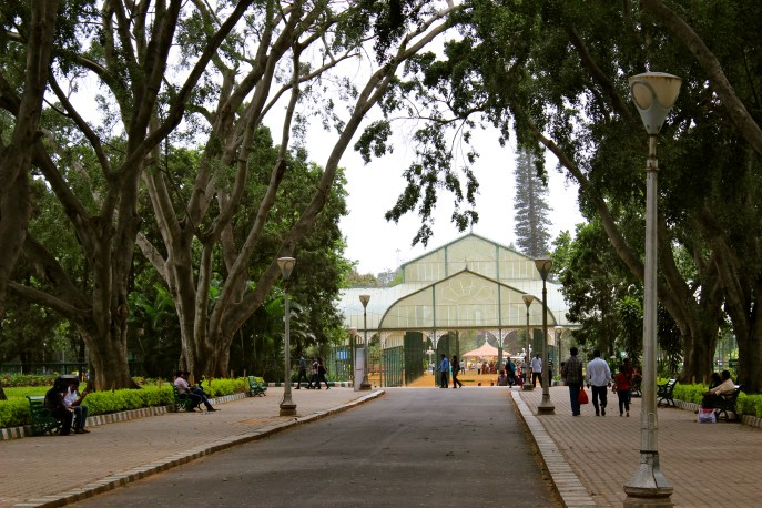 In the middle of Lalbagh is a giant glass house where they put different things on display throughout the year.