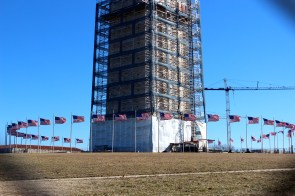 The Washington Monument was being restored because of an earthquake which cracked it in several places.