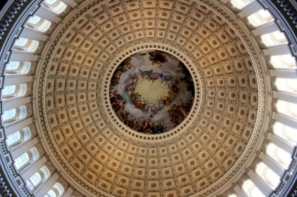 Inside the rotunda of the Capitol.