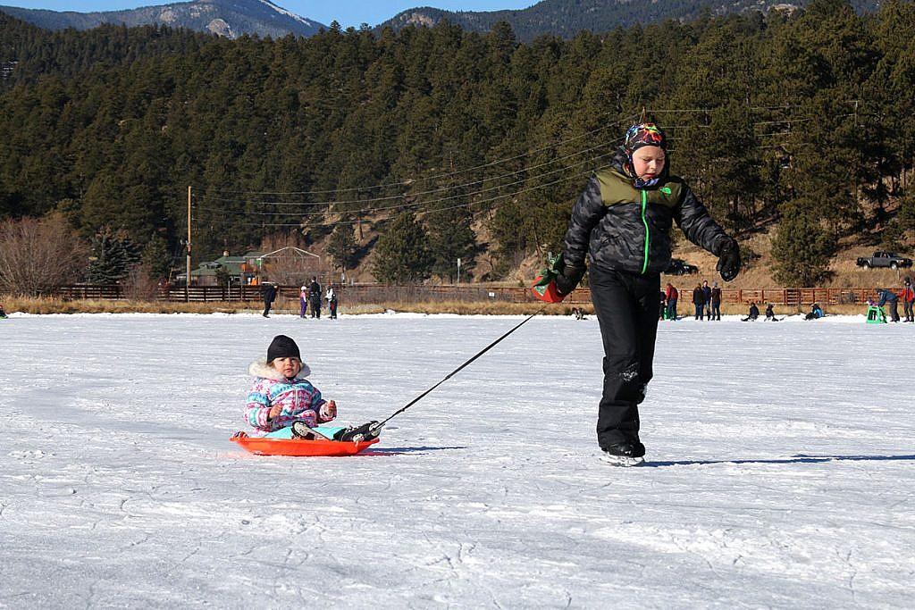 Ice skating at Evergreen Lake