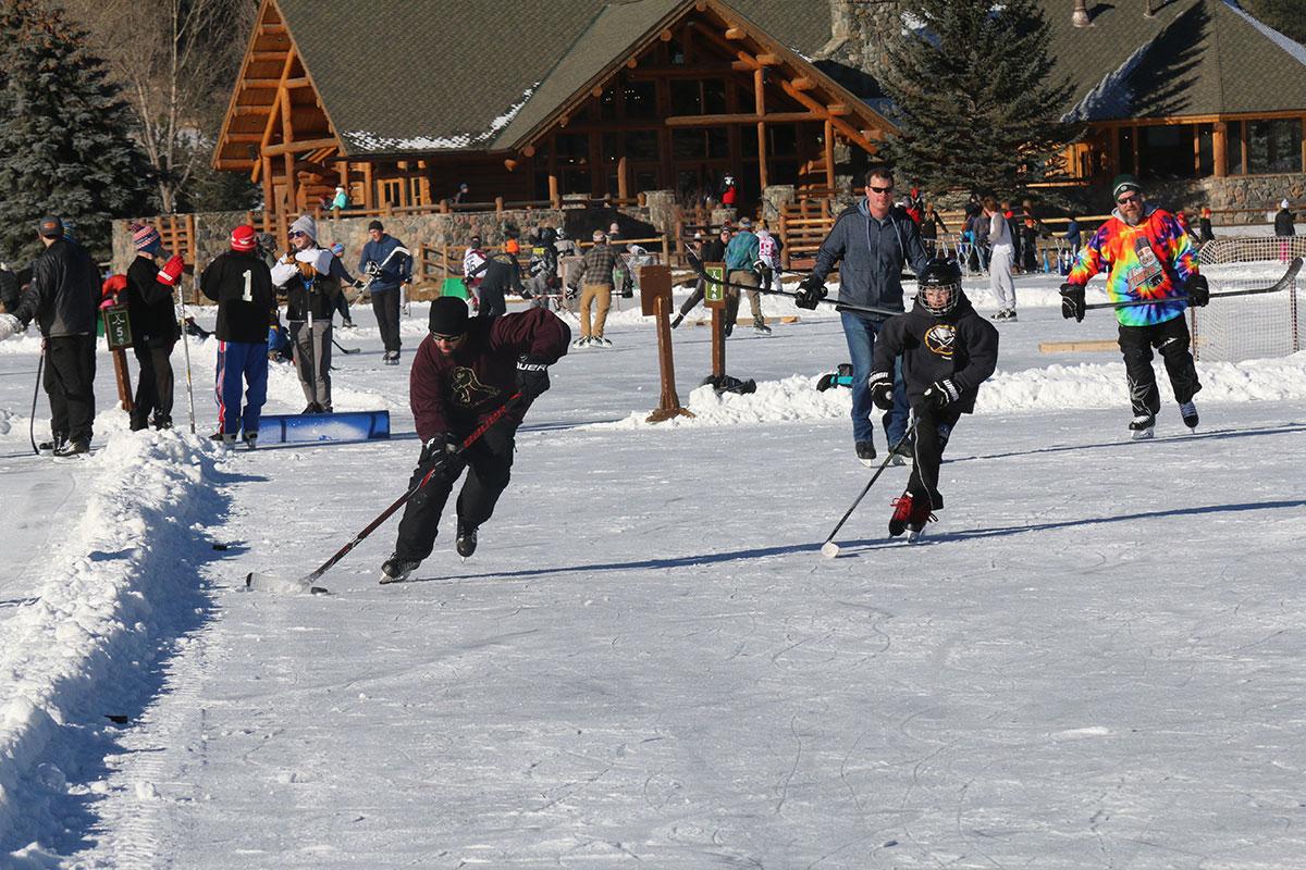 drop in hockey at Evergreen Lake