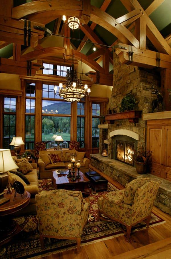 Rustic Mountain Living Room Design Ideas
