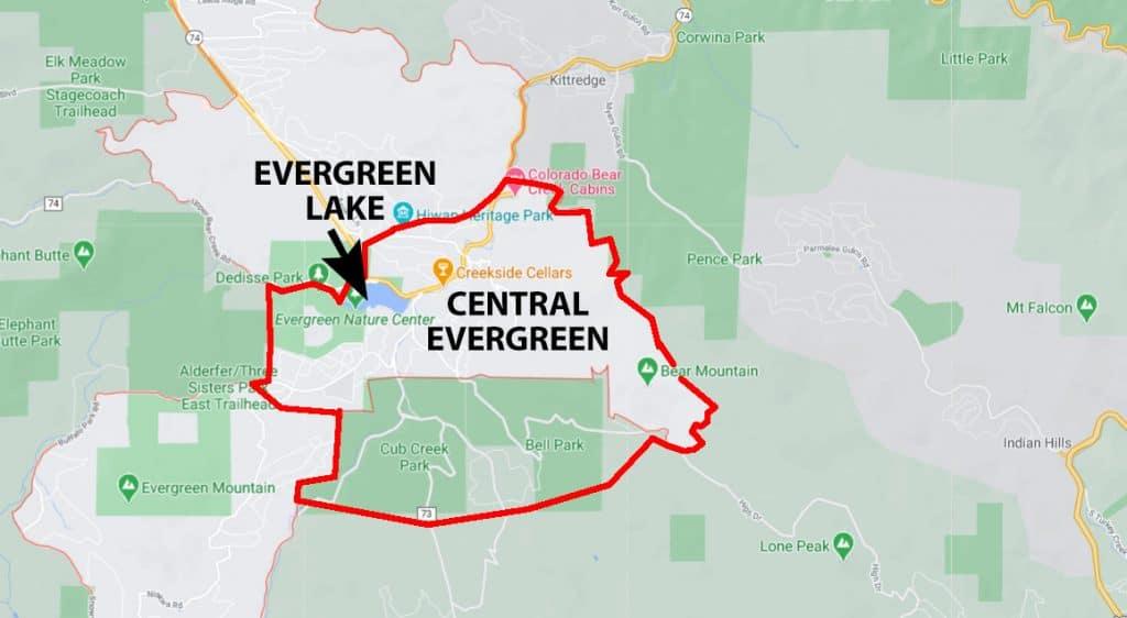 Map of Central Evergreen Colorado