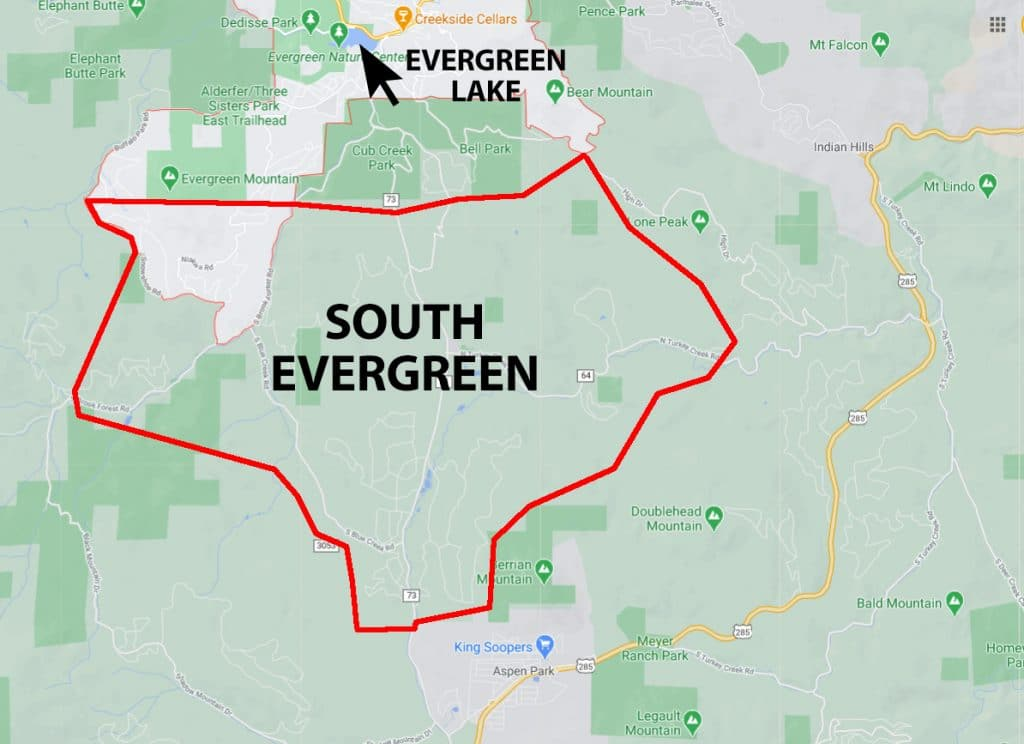 Map of South Evergreen Colorado