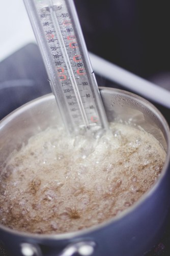 Sugar mixture boiling!