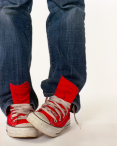 Untied sneakers are trendy at the Mall, but will keep you riding the escalator instead of taking the stairs.