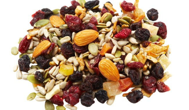 Assorted dried fruit, nuts and seeds for a gluten free snack