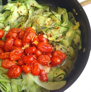 Zucchini Noodles with Roasted Cherry Tomatoes at www.mybottomlessboyfriend.com
