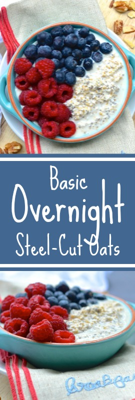 This recipe for Basic Overnight Steel-Cut Oats takes just 60-seconds at night to give you a happy, hearty, and healthy breakfast in the morning. Add any toppings you like as long as you follow the basic ratio of 1 part oatmeal to 2 parts milk. | theeverykitchen.com