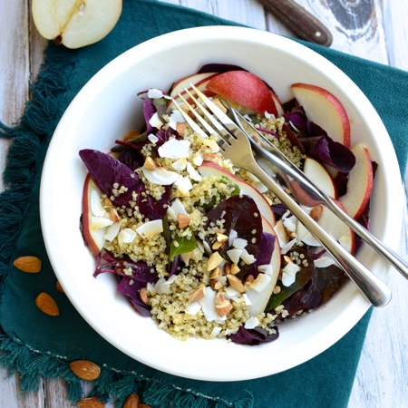 Breakfast Salad with quinoa, almonds, pears, and coconut in a cinnamon-cider dressing | www.theeverykitchen.com
