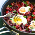 Beet Hash with Runny Eggs