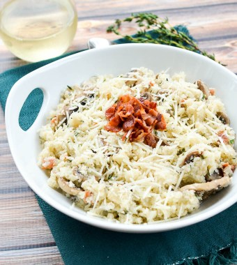 Bacon Mushroom Cauliflower Risotto | www.theeverykitchen.com