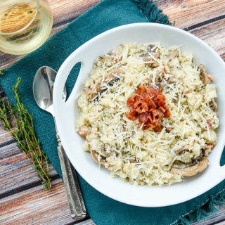 Bacon Mushroom Cauliflower Risotto