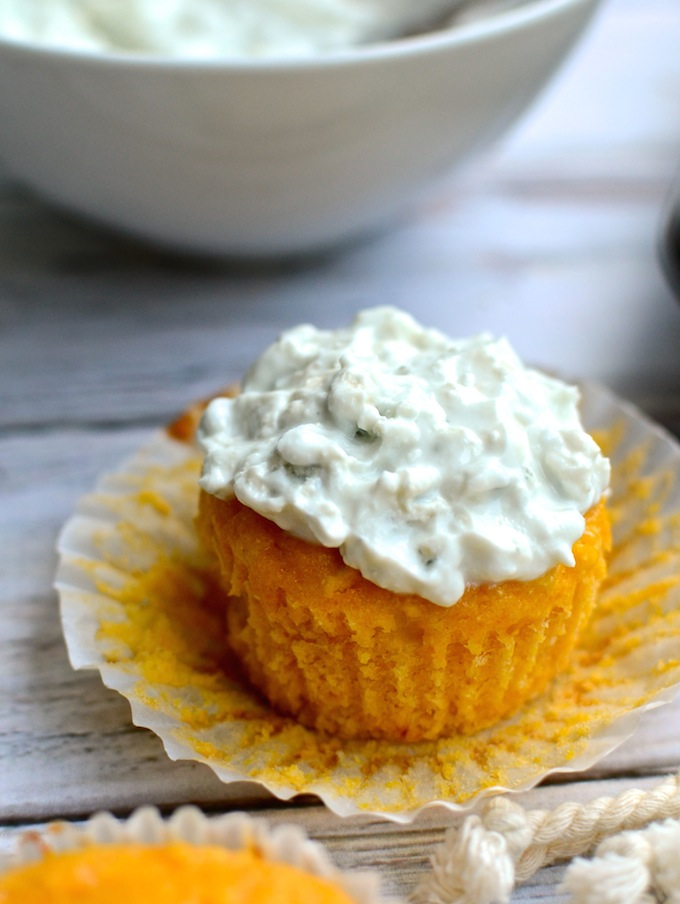 Perfect for Game Day! Buffalo Chicken Cornbread Muffins with Blue Cheese Topping   www.theeverykitchen.com