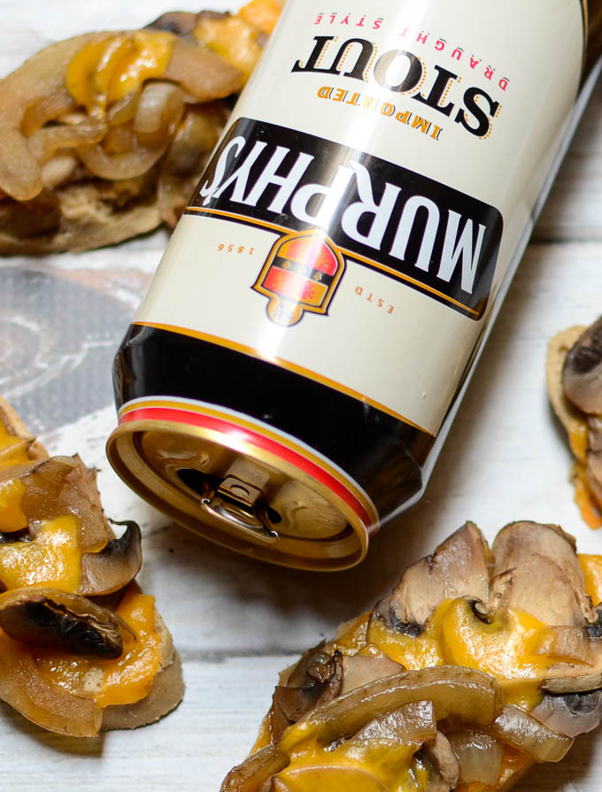Stout-Soaked Mushroom & Onion Cheddar Toasts | www.theeverykitchen.com