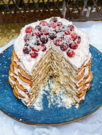 Gingersnap Icebox Cake with Cranberry-Mascarpone Whipped Cream | www.theeverykitchen.com