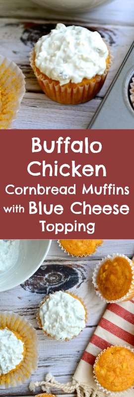 Perfect for Game Day! Buffalo Chicken Cornbread Muffins with Blue Cheese Topping | theeverykitchen.com
