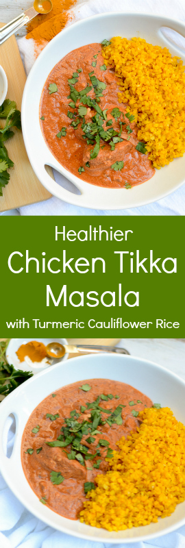 Healthier Chicken Tikka Masala has the warmth and spice that will make your tongue do a happy dance. This recipe has spectacular flavor. | theeverykitchen.com