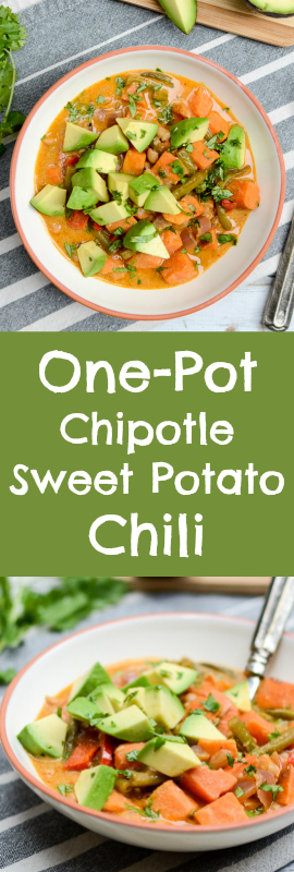 Three reasons you'll love this One-Pot Chipotle Sweet Potato Chili recipe: 1. Chipotle. 2. Twenty minutes. 3. It's made from all your produce leftovers! | theeverykitchen.com