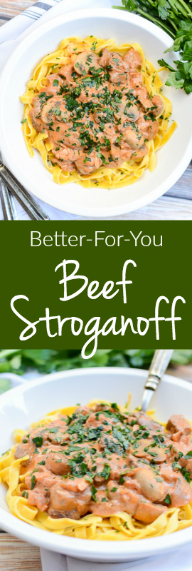 Better-For-You Beef Stroganoff is a recipe will keep you warm and happy even on the coldest days. Shhh... the skinny secret is Greek yogurt! | theeverykitchen.com