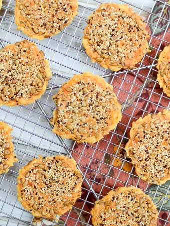 Seeded Quinoa Cheese Crisps: A recipe for when the crispy, crunchy, cheesy, salty, toasty cravings hit. You won't be disappointed. | theeverykitchen.com