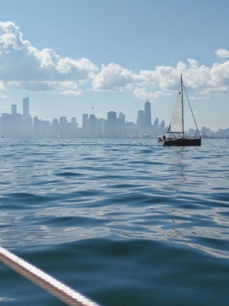 Chicago skyline from a sailboat | theeverykitchen.com