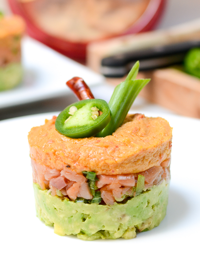 Spicy Salmon, Hummus, and Avocado Stacks are an easy show-stopping appetizer. This recipe is vegetarian, sugar free, and gluten free and the flavor is BOMB. #AD   theeverykitchen.com