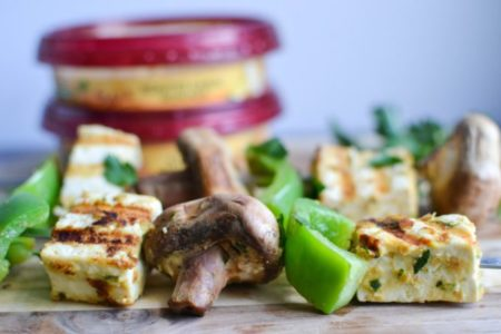 Tofu & Shrimp Skewers with Hummus Marinade from One Hungry Bunny | theeverykitchen.com