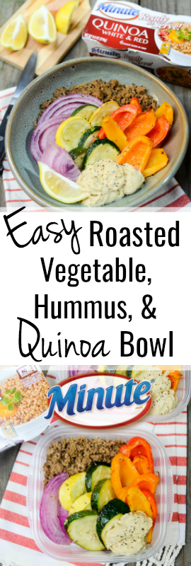 Easy Roasted Vegetable, Hummus, and Quinoa Bowls are a vegetarian, sugar free, and gluten free make-ahead lunch. The recipe is quick and easy thanks to @minutericeUS AD | theeverykitchen.com