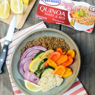 Easy Roasted Vegetable, Hummus, and Quinoa Bowls