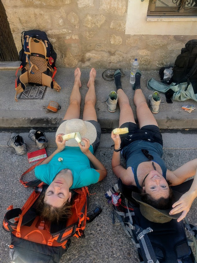 Resting on a village street on The Camino de Santiago | theeverykitchen.com