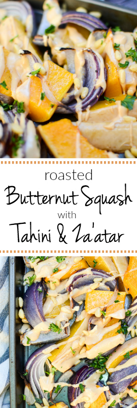 From the cookbook Jerusalem, Roasted Butternut Squash with Tahini and Za'atar is a new staple in my kitchen. You may as well go ahead and double -- or triple -- this recipe because you won't be able to put your fork down once you dive in. | theeverykitchen.com