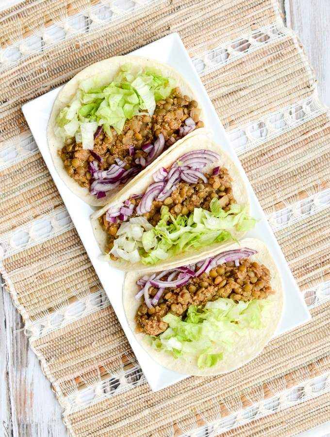 Break out your slow cooker folks. That's how easy I'm making this recipe for Easy Vegan Lentil Tacos. Throw all your ingredients in and, voila! | theeverykitchen.com