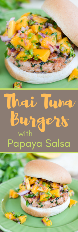 Thai Tuna Burgers with Papaya Salsa are made with bright, healthy, fresh flavors that will kick start your summer or brighten your winter. | theeverykitchen.com