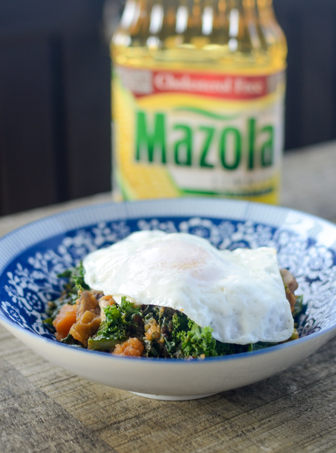 Make breakfast healthier, tastier, and more satisfying with simple swaps. Sweet Potato, Kale, Mushroom Hash is #vegetarian #glutenfree and #sugarfree | theeverykitchen.com