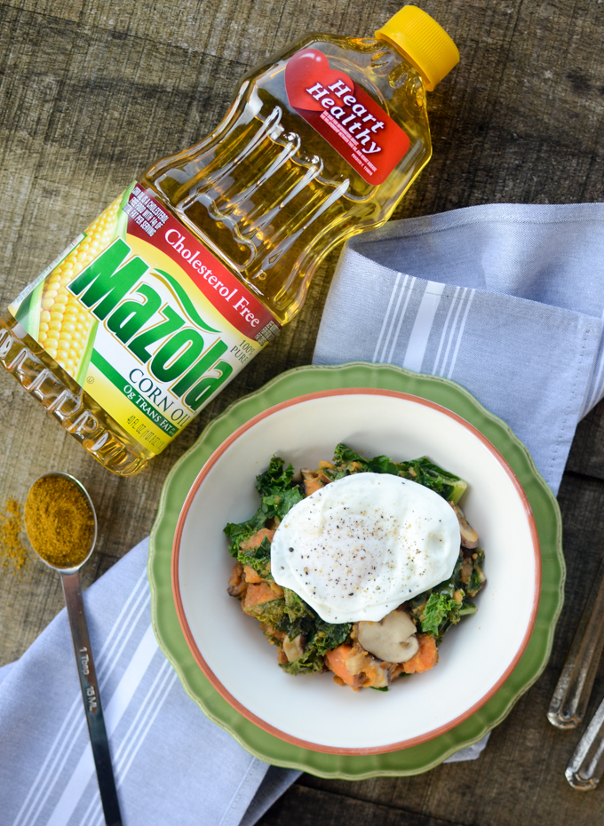 #ad Make breakfast healthier, tastier, and more satisfying with simple swaps. Sweet Potato, Mushroom, and Kale Hash features cholesterol-free corn oil. #ChooseMazola #vegetarian #glutenfree #sugarfree | theeverykitchen.com