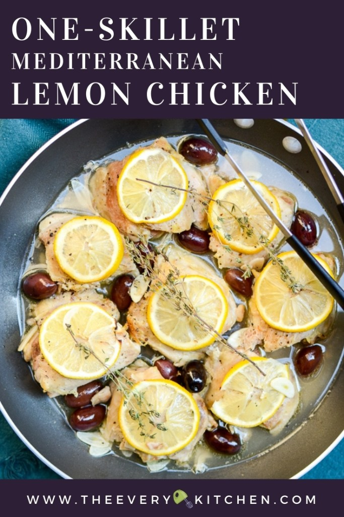 I love the versatility of One-Skillet Mediterranean Lemon Chicken. This recipe makes a quick and easy weeknight dinner and is also perfect for Sunday meal prep. #easyrecipes #healthyrecipes | theeverykitchen.com