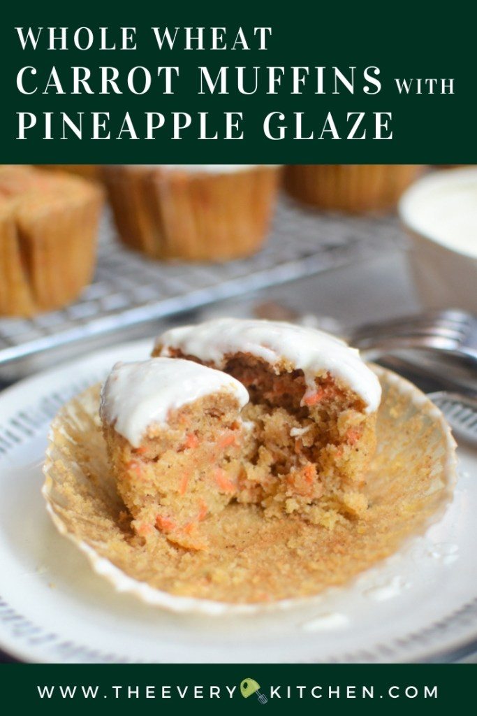 Whole Wheat Carrot Muffins with Pineapple Glaze | theeverykitchen.com