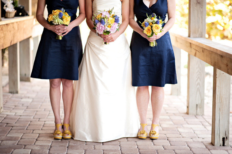 Eclectic Chic Navy, Pink, And Yellow Wedding