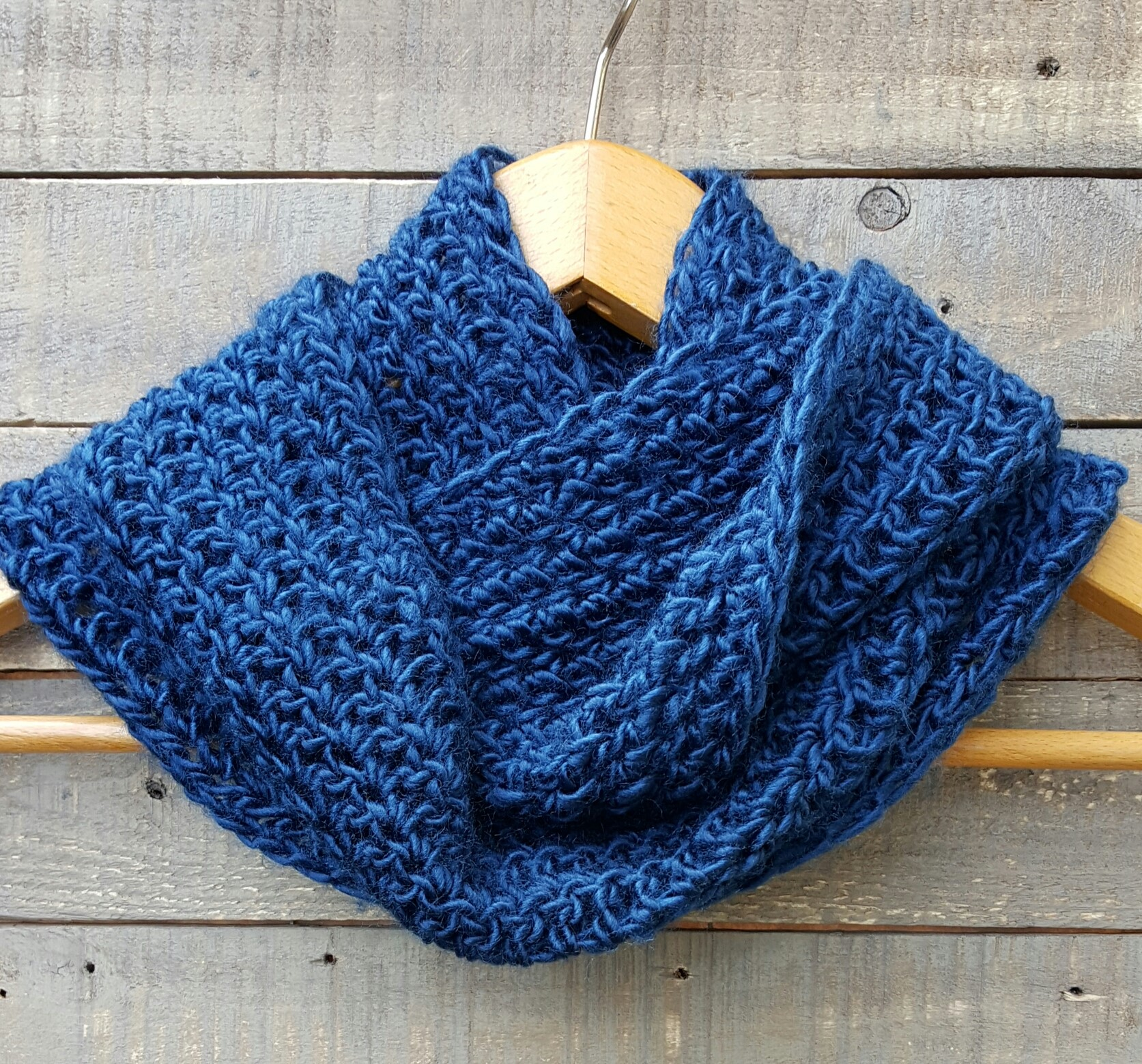 crocheted cowl/ scarf lake blue