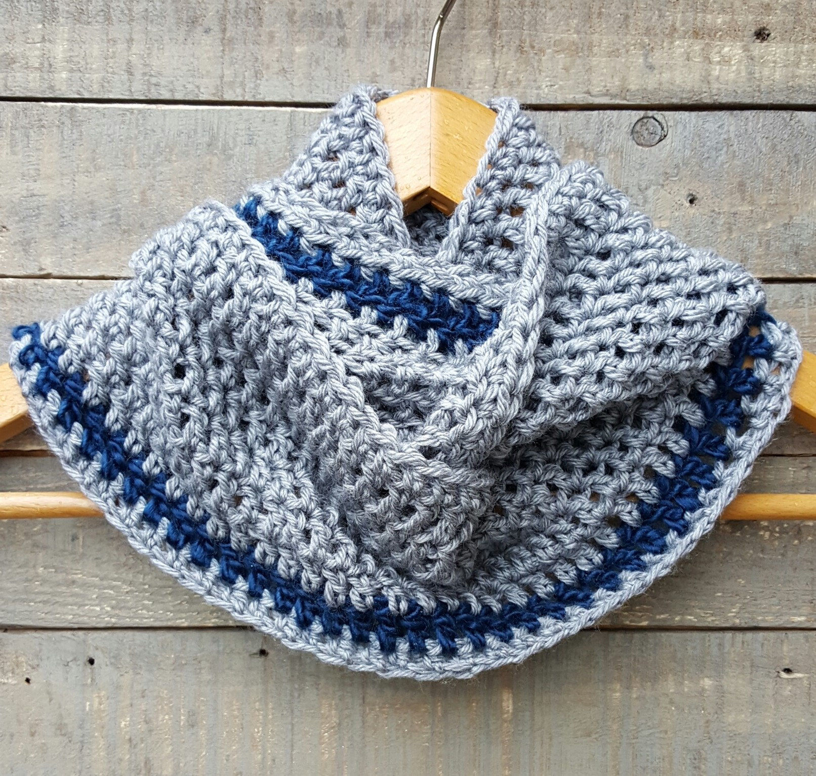 Hand crocheted Cowl grey blue