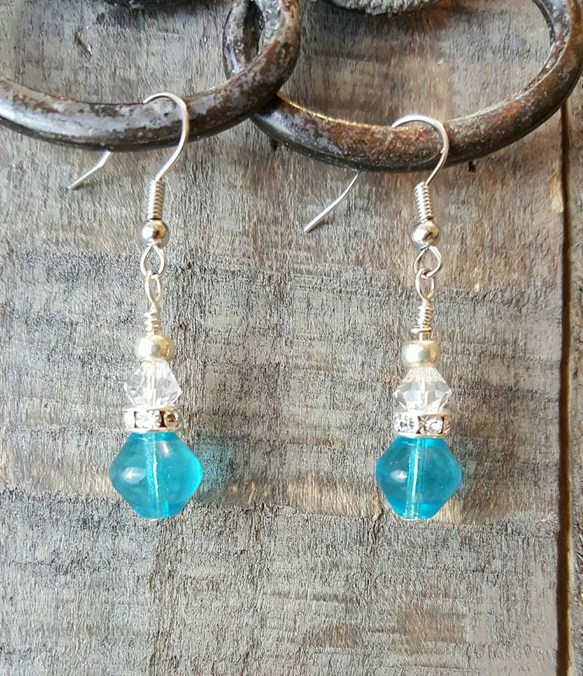 aqua glass-crystal earrings