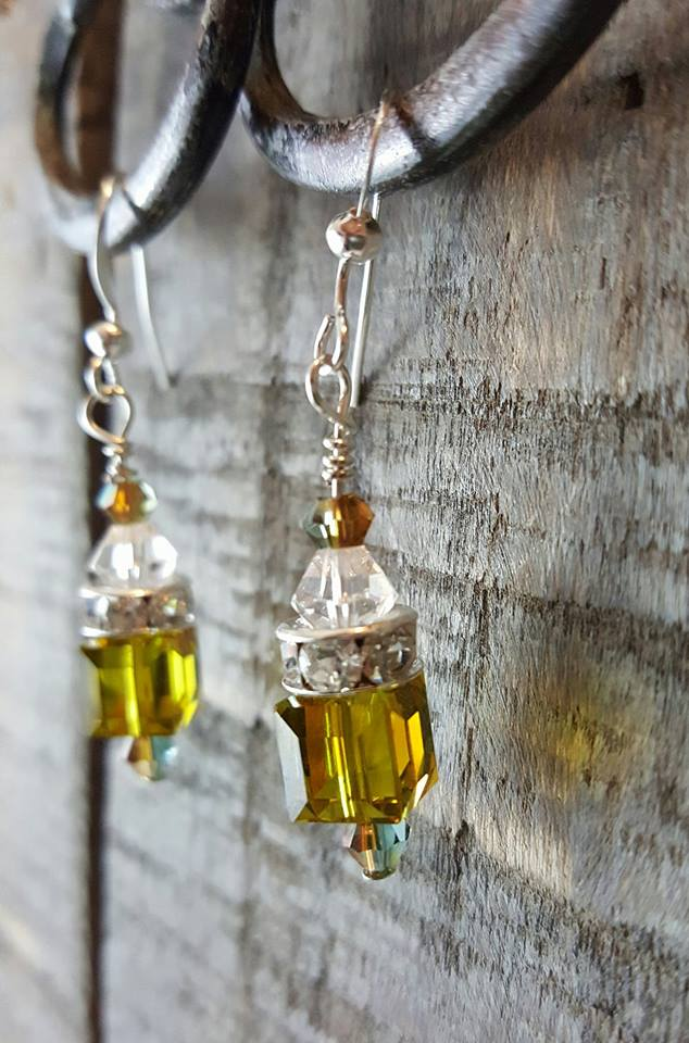Citrine Swarovski Crystal Cube Earrings