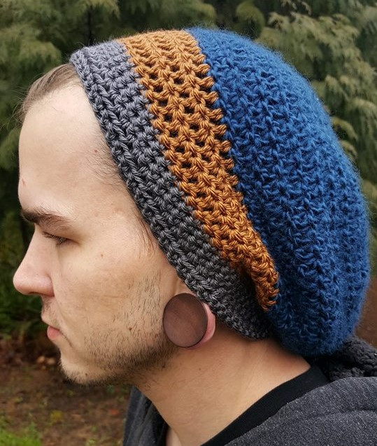 Hand Crochet Slouch Hat blue brown