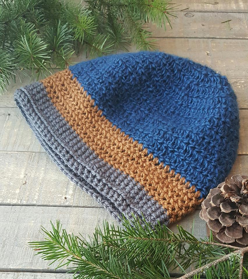 Hand Crochet Slouch Hat blue brown grey